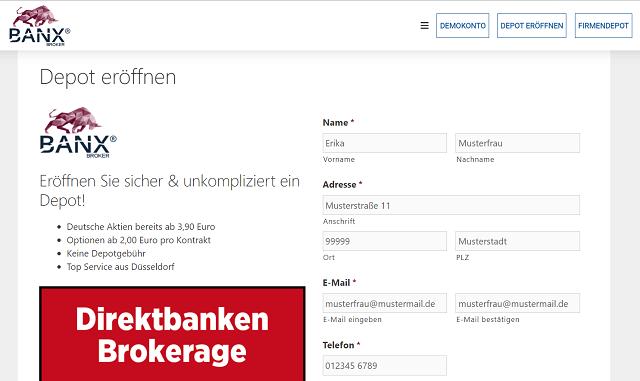 Banx Broker Schritt 1 - BANX Aktiendepot Erfahrungen