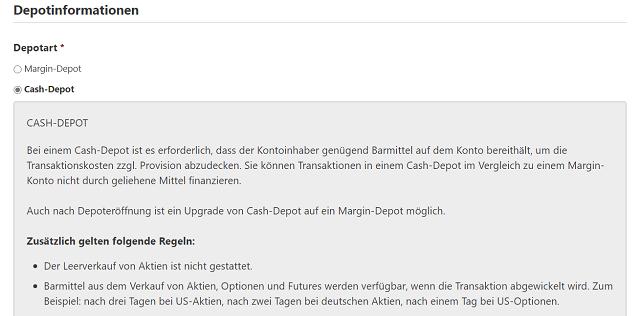 Banx Broker Depotinformationen über das Cash-Depot