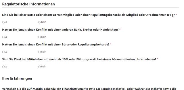 Banx Broker Online-Formular zur Abfrage von regulatorischen Informationen
