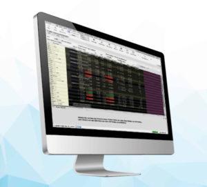 Monitor, auf dem Börsendaten abgebildet sind