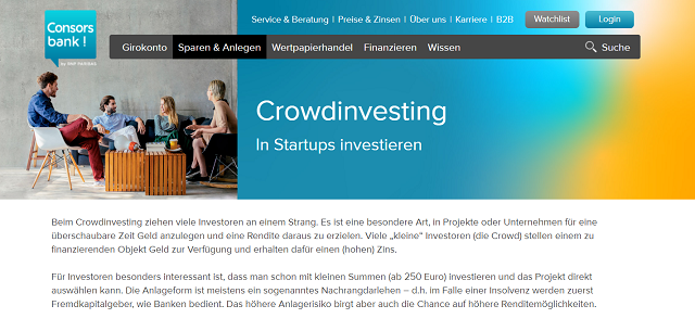 Crowdinvesting Consorsbank Screenshot