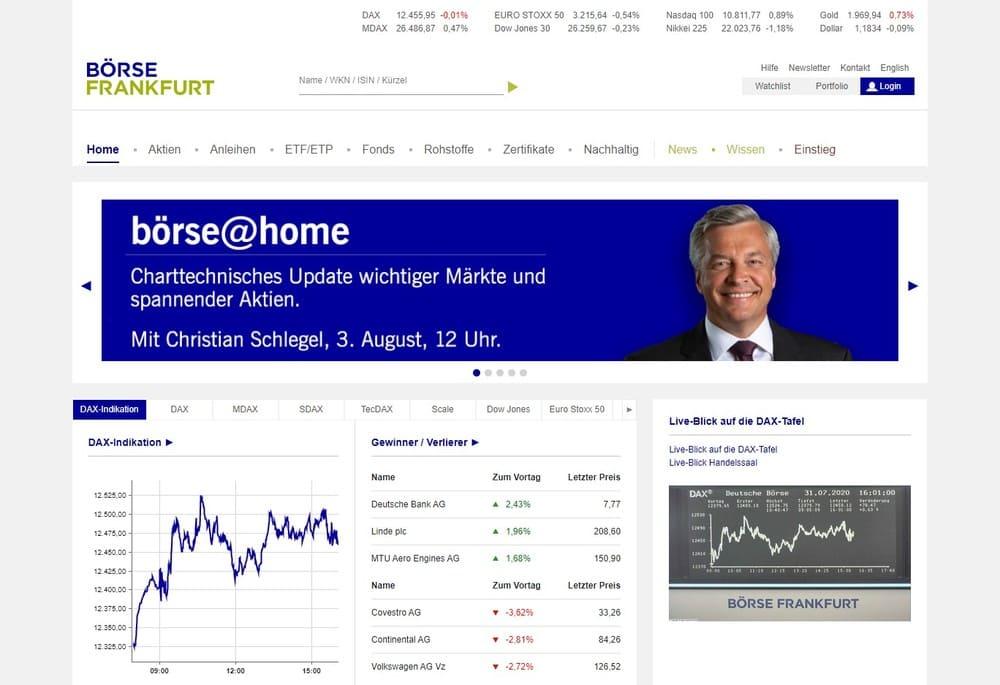 Homepage der Frankfurter Börse - Kosten Aktienkauf