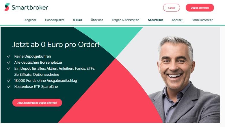 Smartbroker Website - keine Depotgebühren