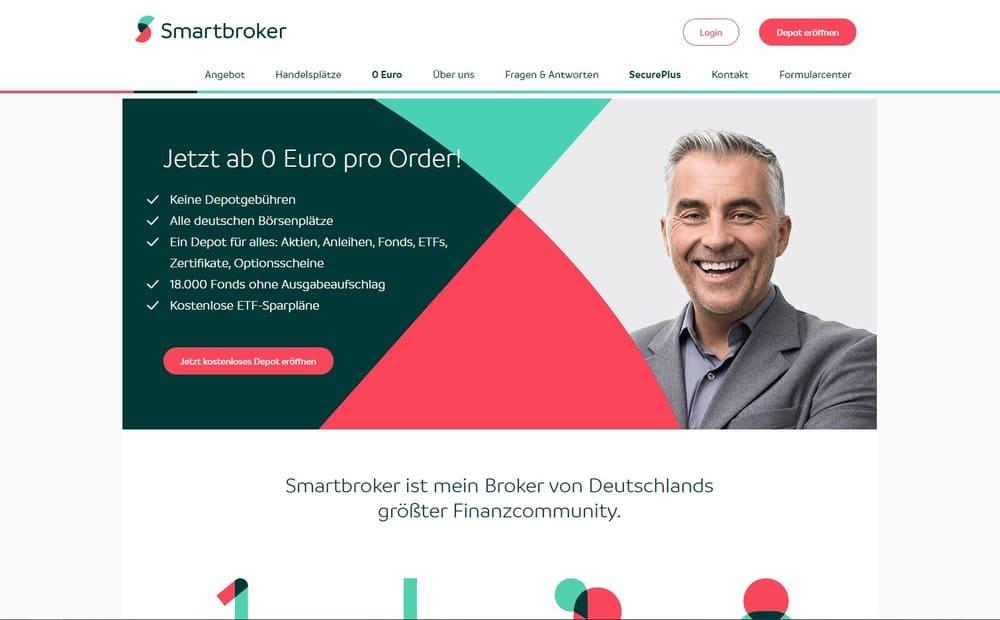 Smartbroker Website - Kosten Aktienkauf