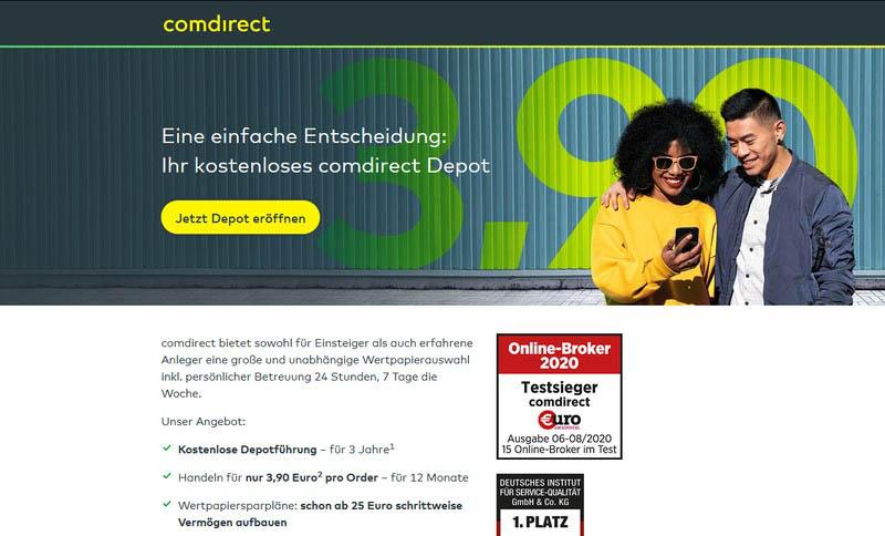 comdirect homepage - ihr kostenloses Depot - comdirect Aktiendepot Erfahrungen