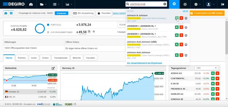 Auf Degiro können Anleger über das Suchfeld Aktien finden und direkt kaufen.