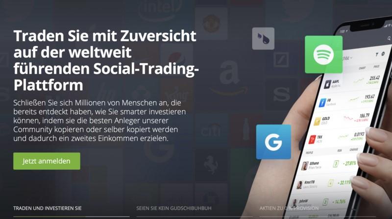 eToro social trading plattform - Derivate Handeln