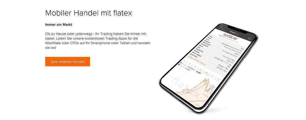 Mobiler Handel mit flatex - Abbildung eines Mobiltelefons
