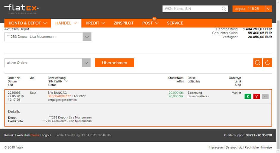 Handelssoftware WebFiliale von flatex