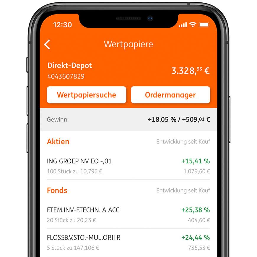 Übersicht über alle Wertpapiere in der ING Banking to go App - Bestes Aktiendepot für Studenten