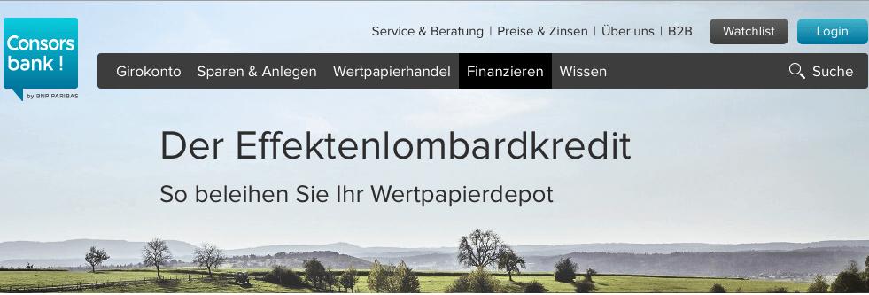 Kredit Consorsbank - Lombardkredit