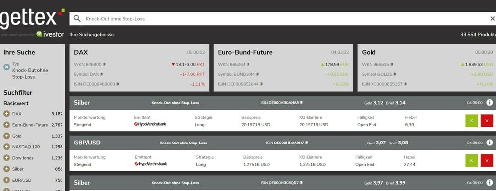Blick auf den Zertifikate Finder ivestor der Börse Gettex, wo jeweilige Suchergebnisse angezeigt werden. - Turbo Zertifikate