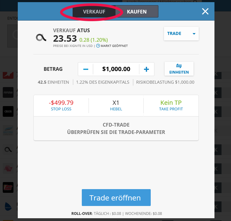 eToro CFD Trade