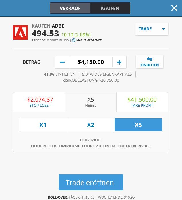 Aktienhandel bei eToro