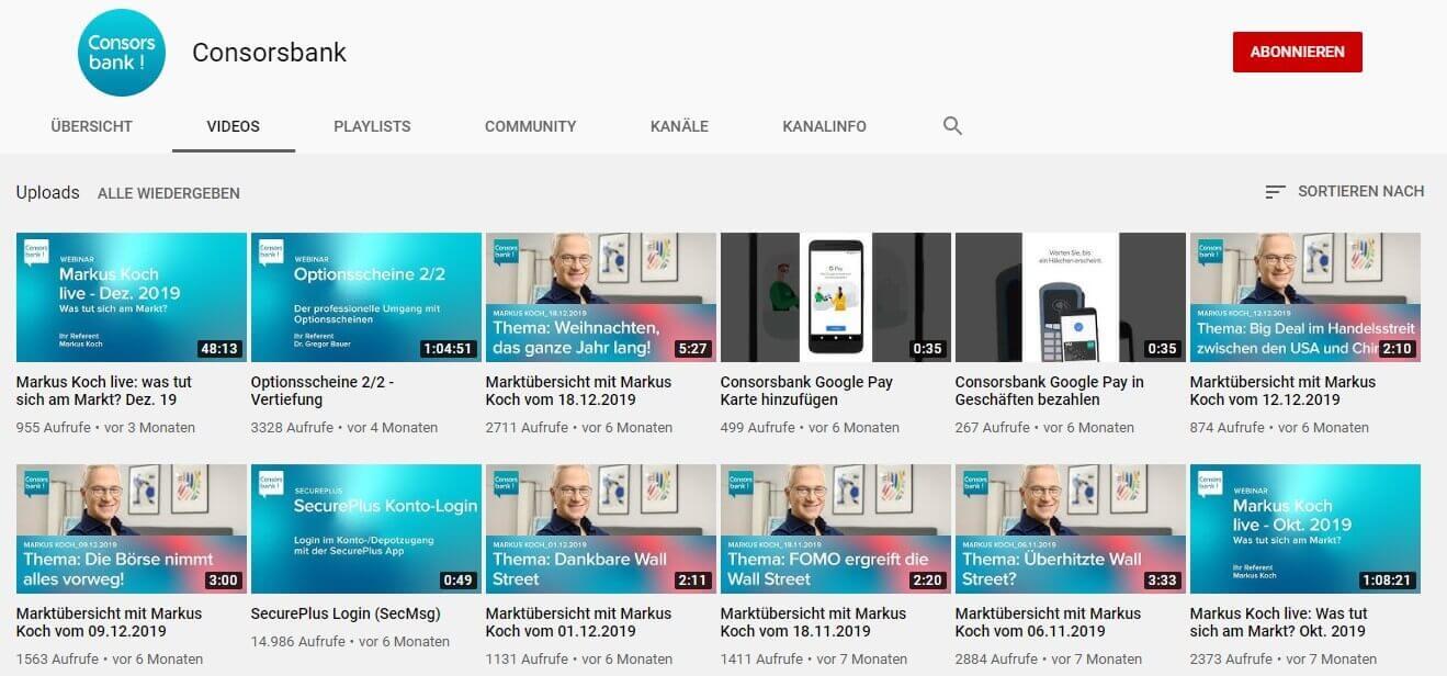 YouTube-Channel der Consorsbank