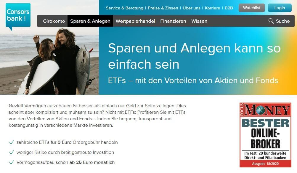 Consorsbank ETF-Angebot - Aktiendepots für Anfänger