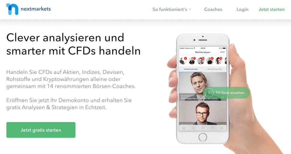 Nextmarkets Homepage CFD Handel