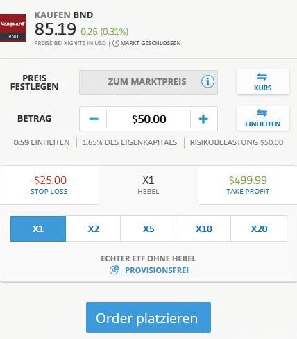 eToro Homepage - Order abschließen - CFD Trading