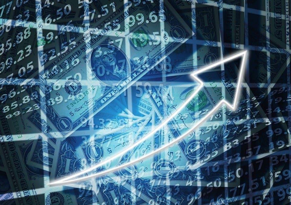 Der Aufschwung der Weltwirtschaft wird mit einem nach oben weisenden Pfeil dargestellt.