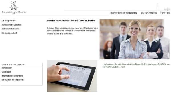 Die Greensill Bank bietet alle üblichen Bankdienstleistungen für Privat- und Geschäftskunden an.