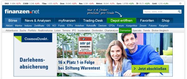 Finanzen.net tritt als Vermittler des OnVista-Depots auf
