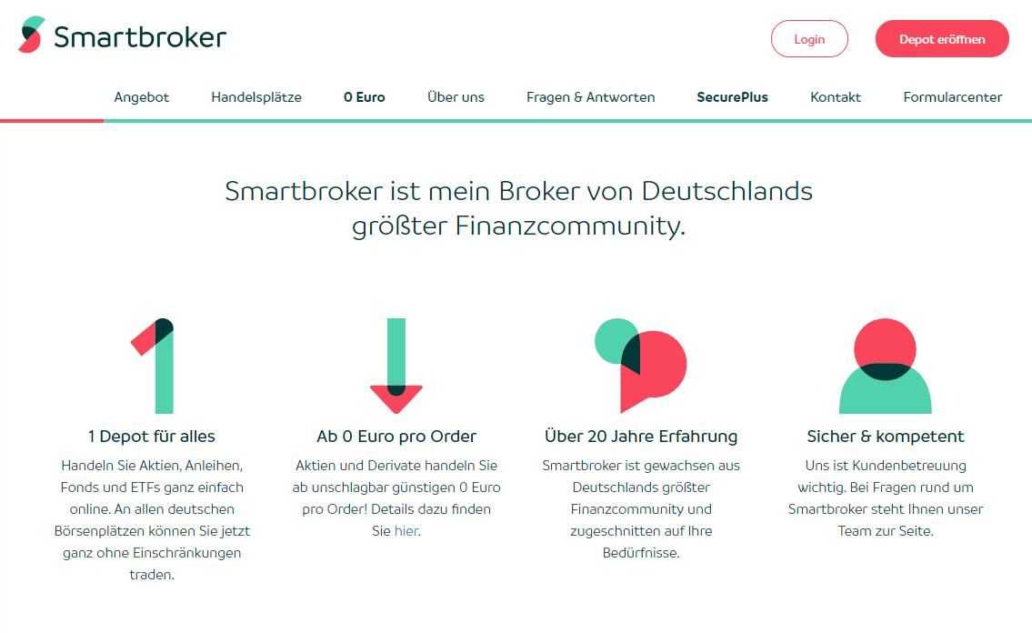 Smartbroker zeigt seine Vorteile auf: Depot für alles, ab einem Euro pro Order handeln, über 20 Jahre Erfahrung und sicher & kompetent. - Finanzen.net Erfahrungen