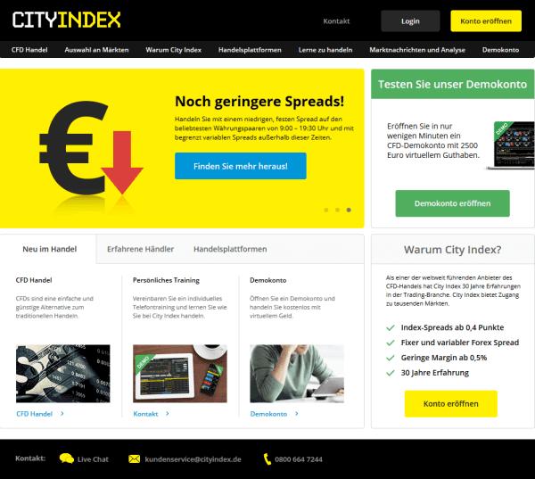 Der Webauftritt von City Index.