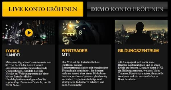 So präsentiert sich 24FX auf seiner Webseite