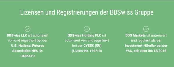 Lizensen und Registrierungen der BDSwiss Gruppe auf einen Blick