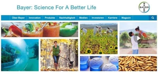 Der Webauftritt des Unternehmens Bayer