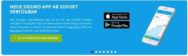 Die DEGIRO App ist über den Apple Store oder Google Play erhältlich