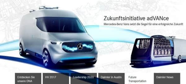 So präsentiert sich Daimler auf seiner Webseite