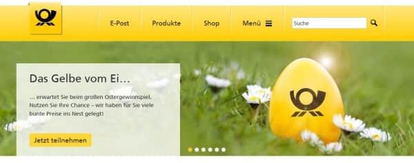 So präsentiert sich die Deutsche Post auf ihrer Webseite