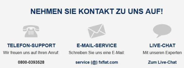 Die FXFlat Kontaktmöglichkeiten
