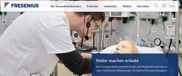 So präsentiert sich das Unternehmen Fresenius im Internet