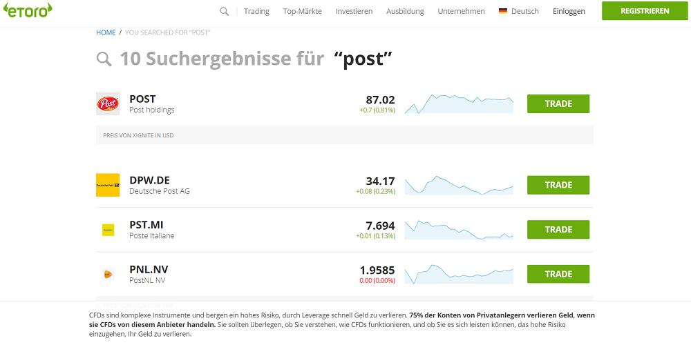 """Übersicht über Suchergebnisse für """"Post"""" bei eToro"""