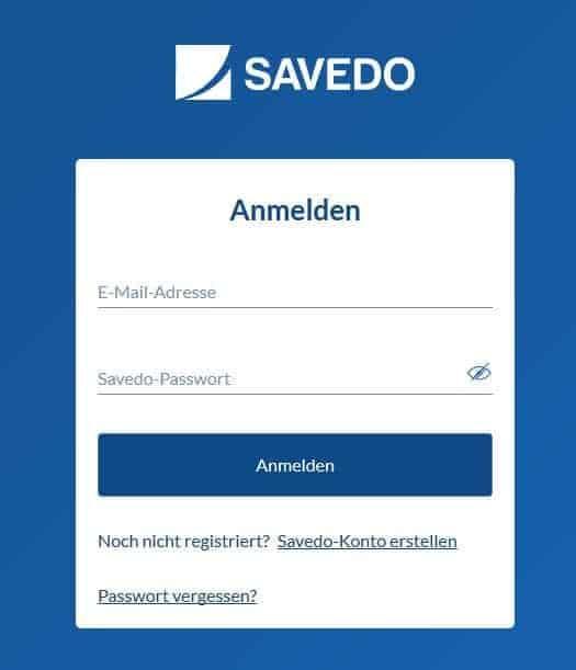 Der Loginbereich für Savedo Kunden