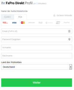 FxPro Konto erstellen