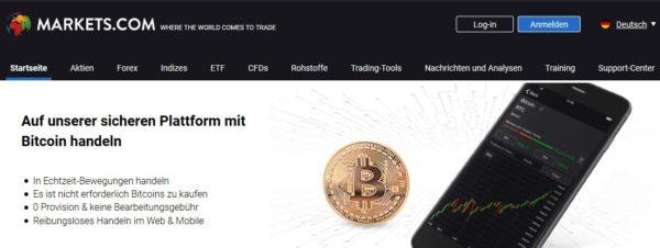 Markets.com Webauftritt