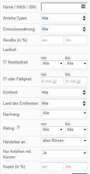 finanzen.net Anleihen Suche