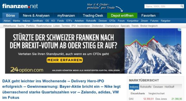 finanzen.net Webauftritt