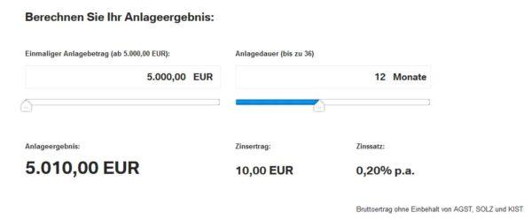 BMW Bank Anlageergebnis berechnen