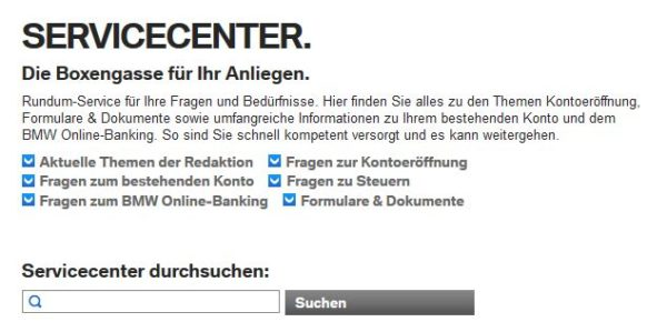 BMW Bank Servicecenter