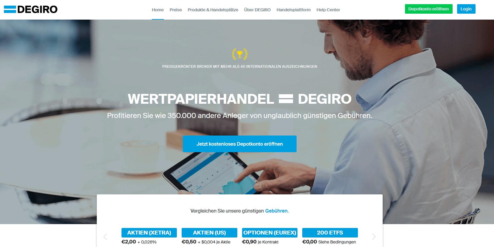 DEGIRO günstige Konditionen auf der Homepage