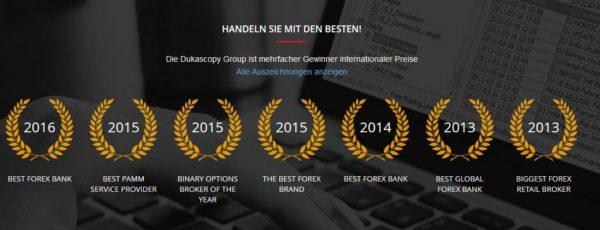 Dukascopy Auszeichnungen