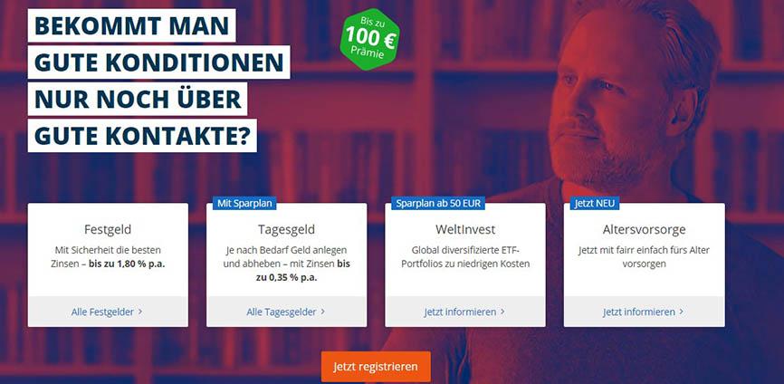 Die 4 ETF Portfolios sowie der max. Bonus von 100 EUR für Neukunden wird angezeigt - Weltsparen Geldanlage Erfahrungen