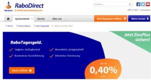 RaboDirect Webauftritt