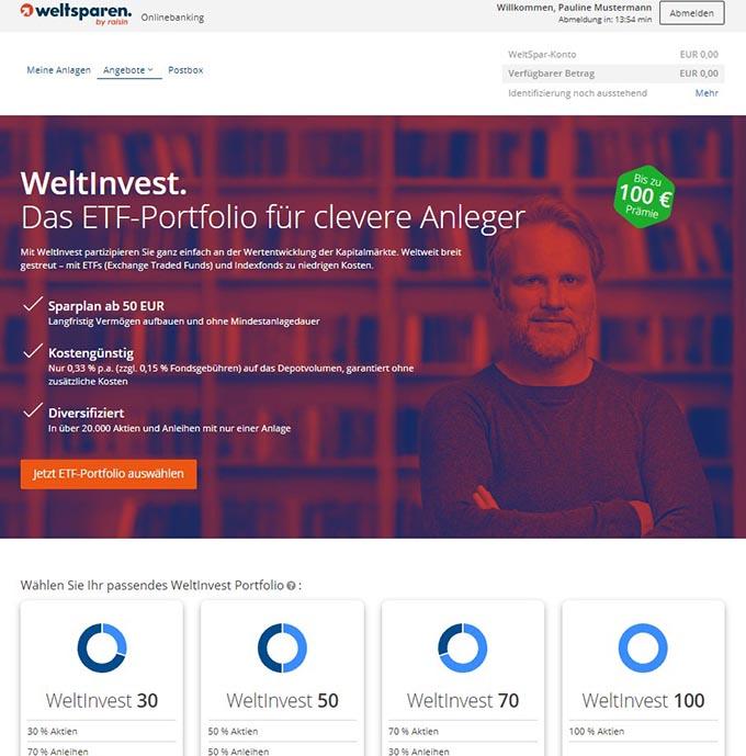 Die 4 möglichen WeltInvest ETF-Portfolios werden zur Auswahl angezeigt. - Weltsparen Geldanlage Erfahrungen