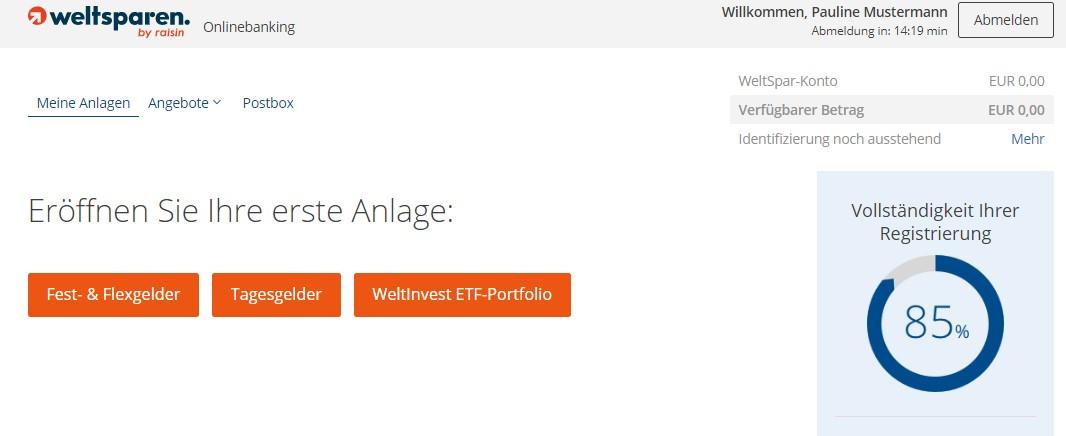 Es wird der Prozentsatz der beantragten Registrierung angezeigt. Das WeltInvest ETF-Portfolio kann ausgewählt werden. - Weltsparen Geldanlage Erfahrungen