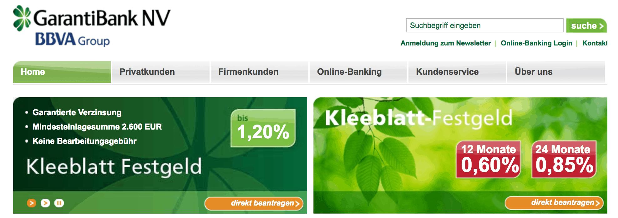 Die Homepage der GarantiBank
